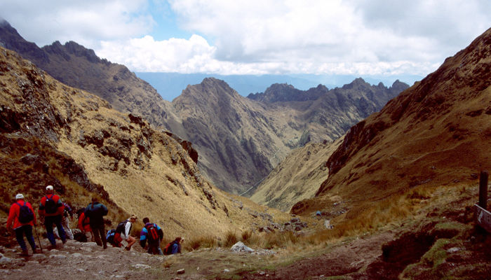 The view from Dead Woman's Pass, 4,200m, on the Inca Trail