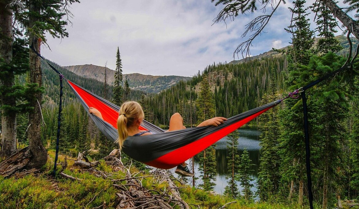 Outdoor camping with hammock