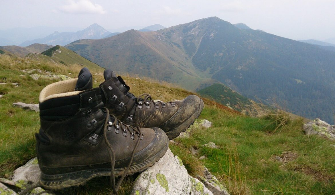 Shoes on a mountain