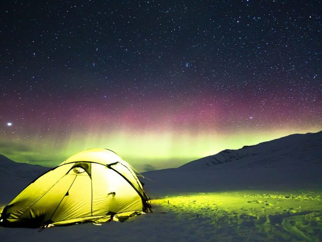 Tent and aurora