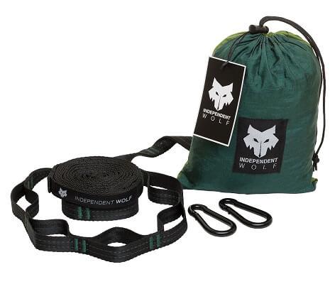 tree straps_carabiners_hammock bag_green