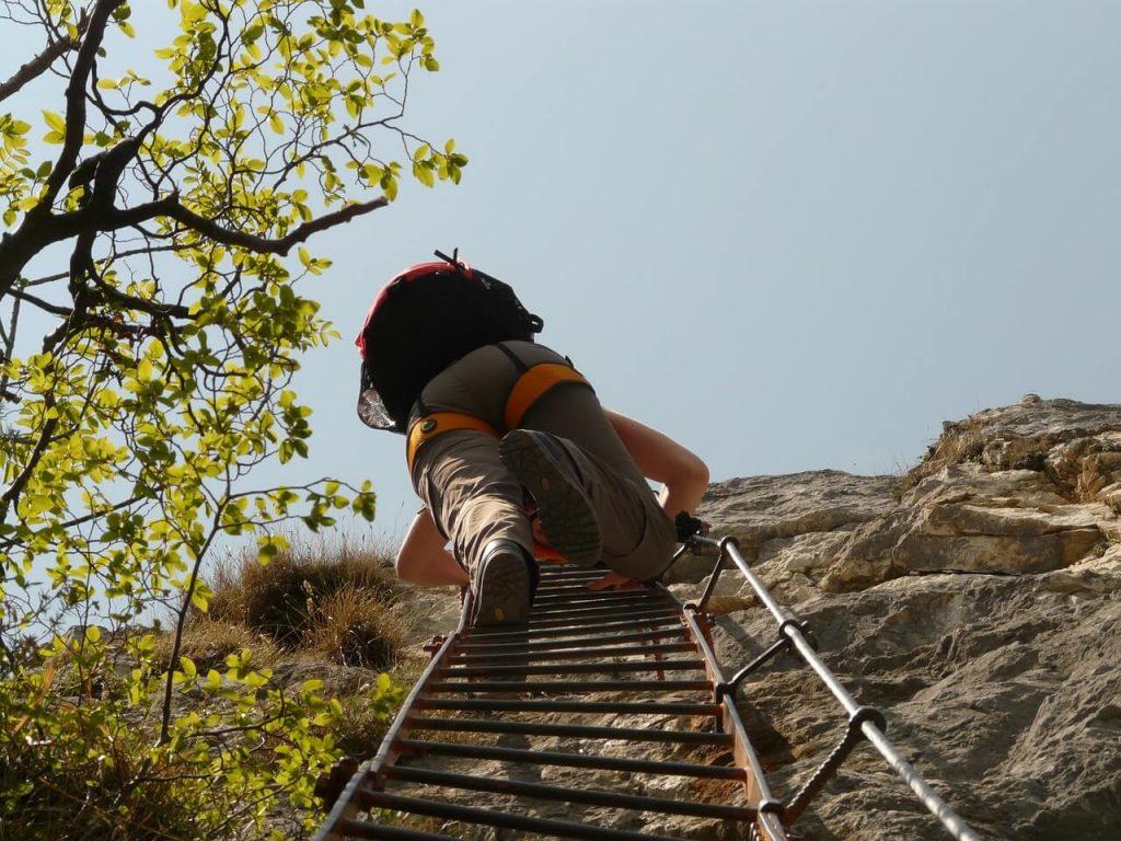 hiker with gray hiking pants