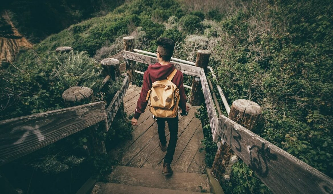 backpacker with sling backpack