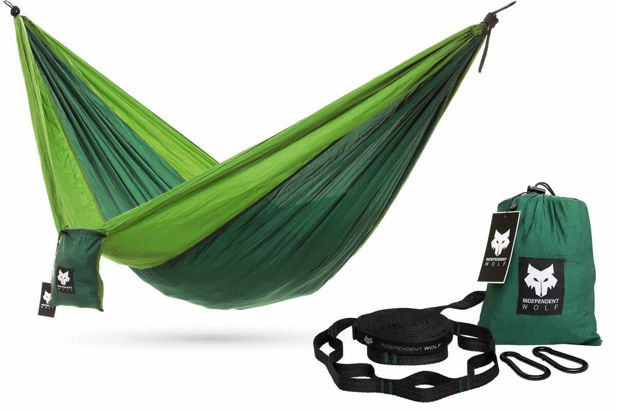 green independent wolf camping hammock     independent wolf portable nylon camping hammock with three straps  rh   independentwolf