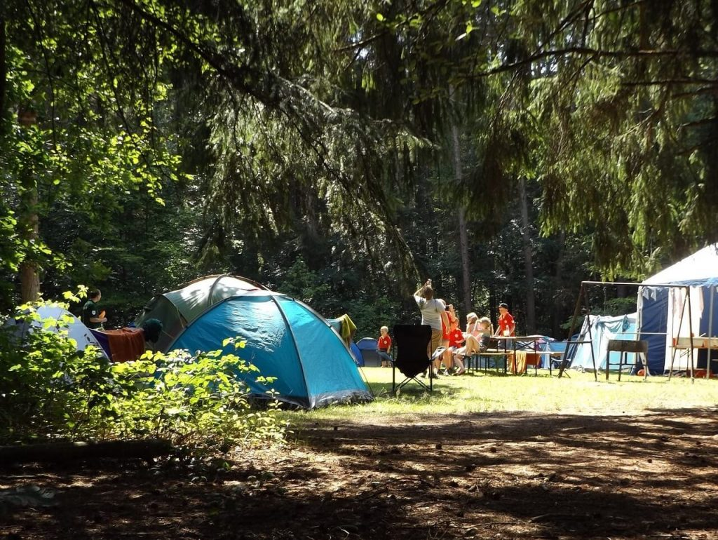 family camping with tents
