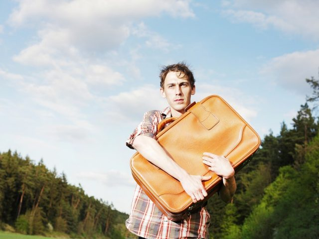 man with luggage