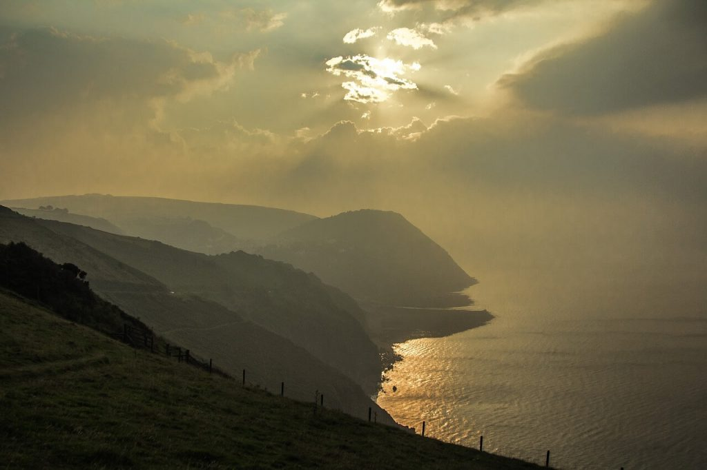 sunset and landscape in Exmoor national park