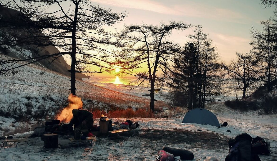 Medium image of campfire in winter
