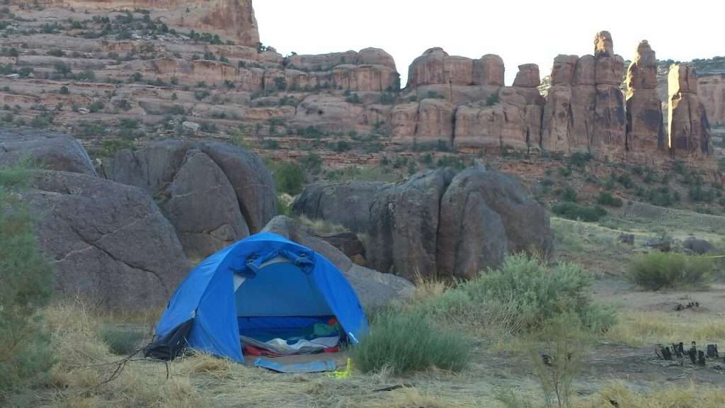 camping tent and rocks