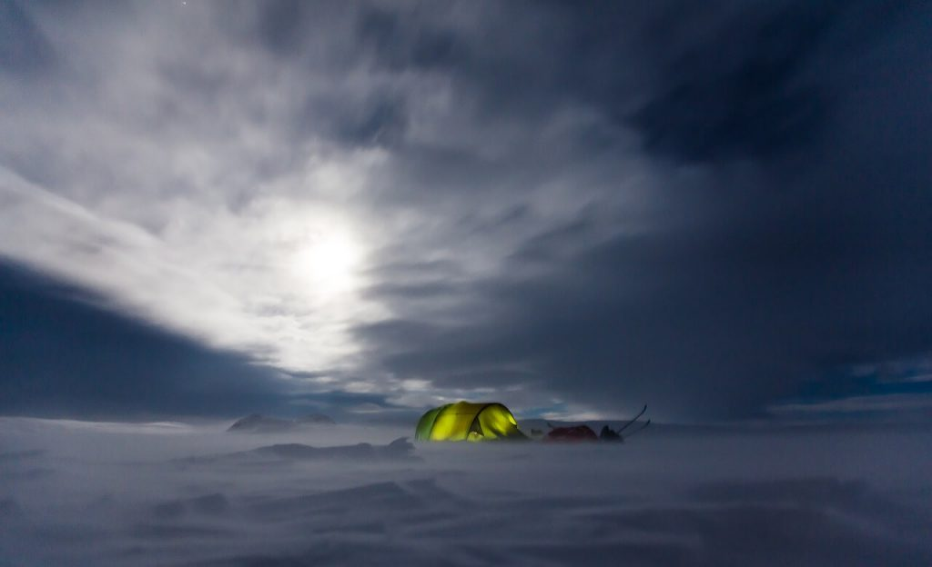 winter camping in tent
