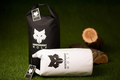 independent wolf dry bags white and black