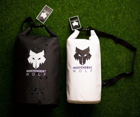 white and black independent wolf dry bags