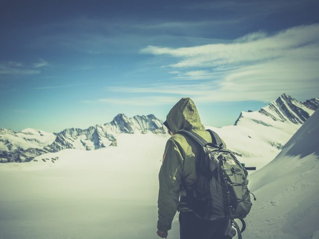 alone hiker with backpack