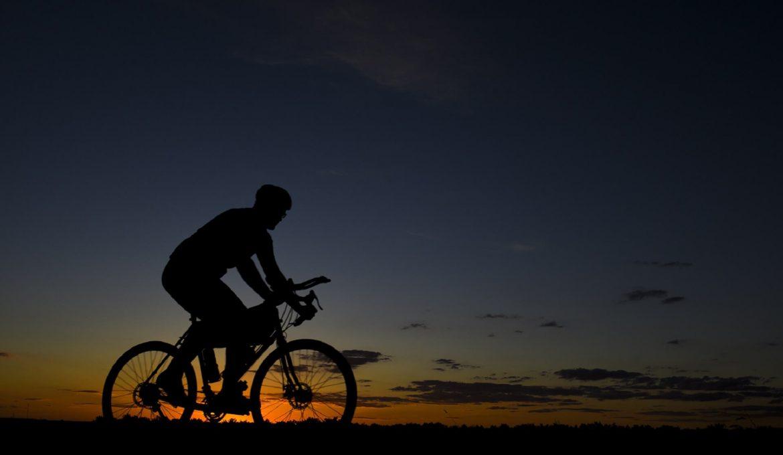 bicyle on rad in dark