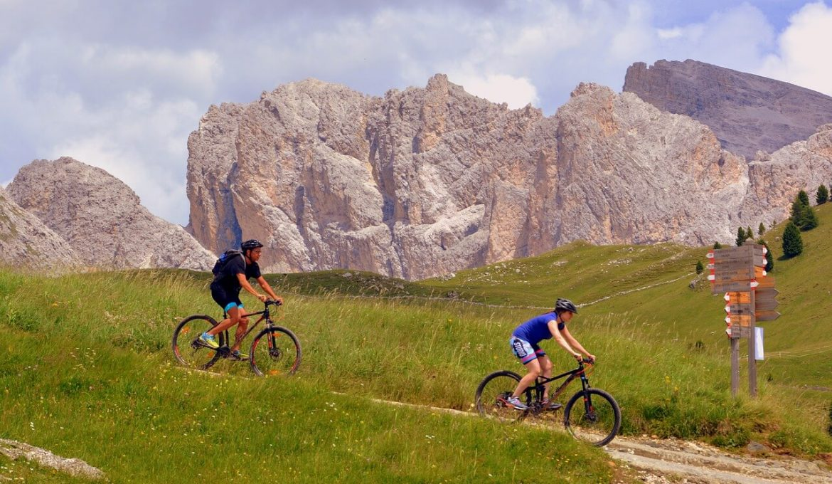hikers with bicycles