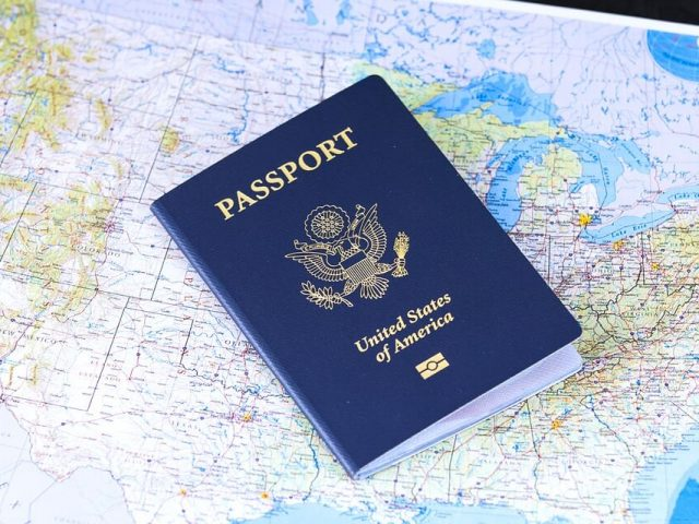 passport on a map
