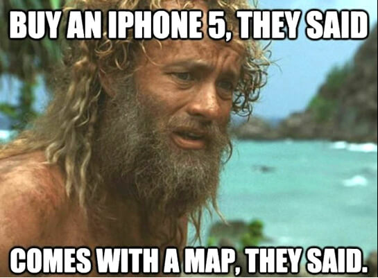 buy iphone comes with map funny meme