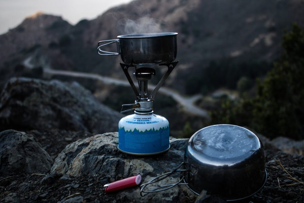 backpacking stove and pot