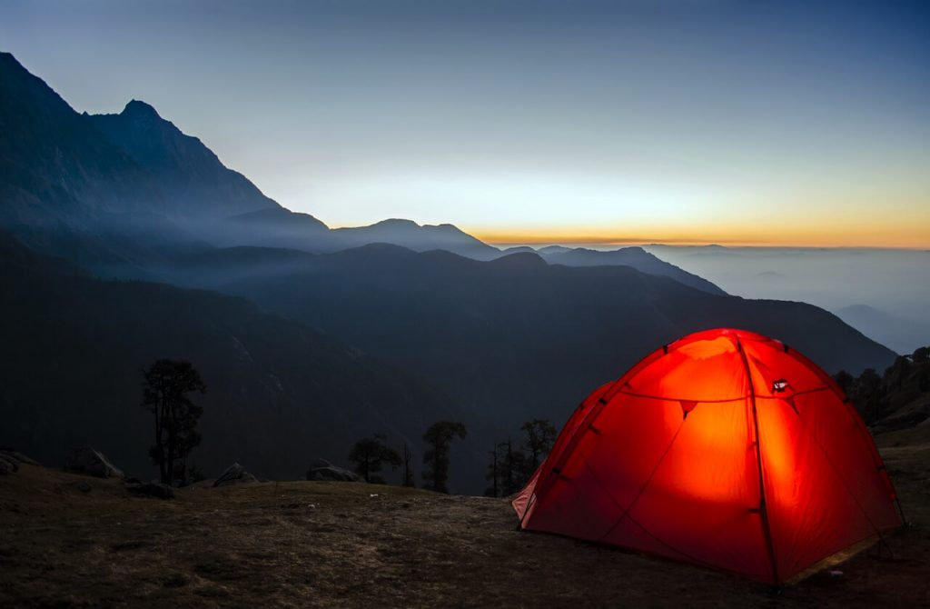 camping tent on mountain - sunrise
