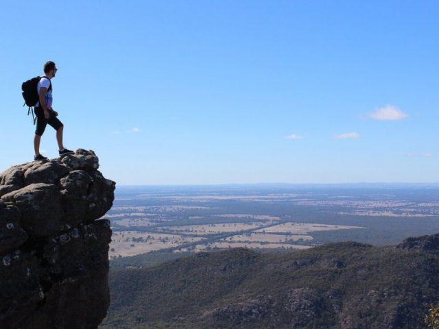hiker on the mountain peak