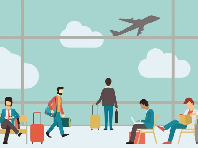 people sitting and walking in airport terminal - travel concept