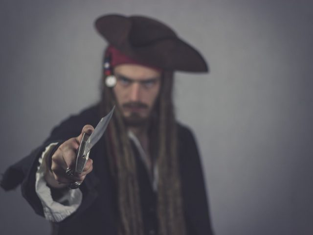 pirate with cold steel knife