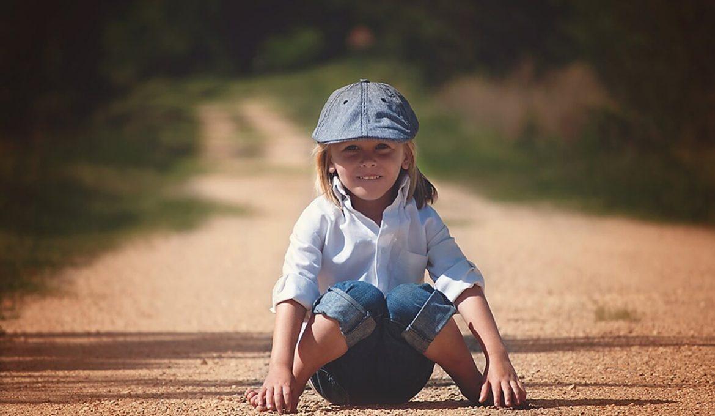 young happy kid in outdoor
