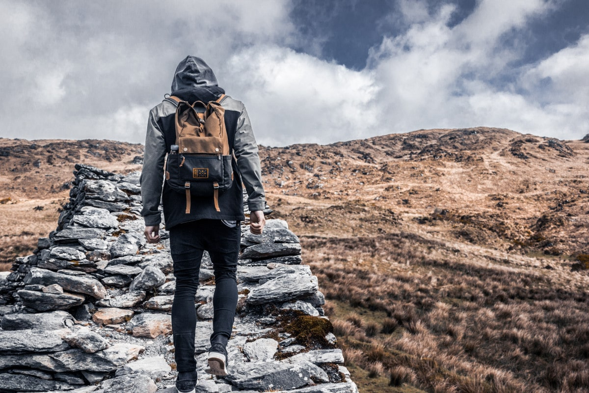 explore Ireland with packable daypack in hiking trail