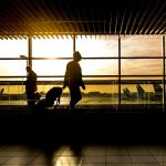 silhouette of person in airport with wheeled bag
