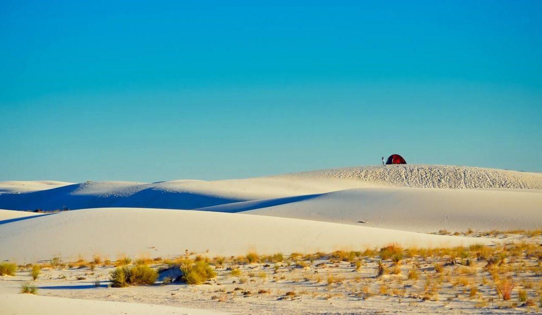 backpacking tent in desert