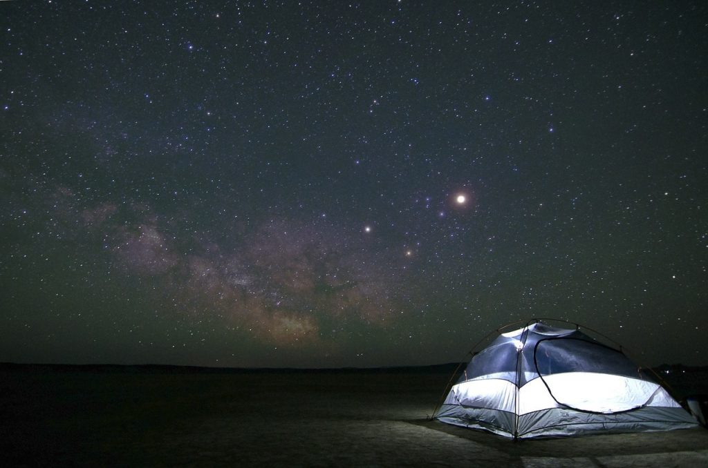 camping tent with amazing view of stars