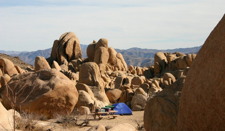 campsite in desert