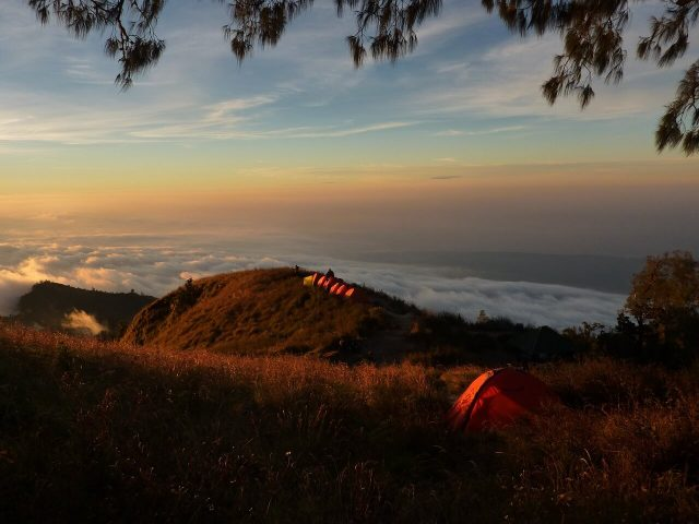 camping tent in hill top
