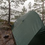wet tent in the rain in the woods