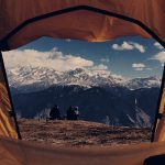 brown dome tent - view to mountains