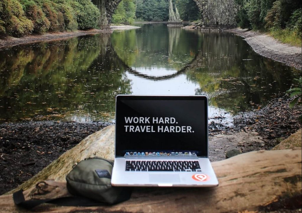 computer in by a river