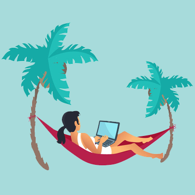 women working in hammock vector