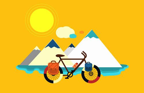 bicycle by mountains vector