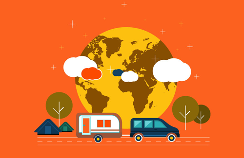 caravan camping vector