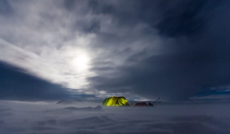 green tent in winter