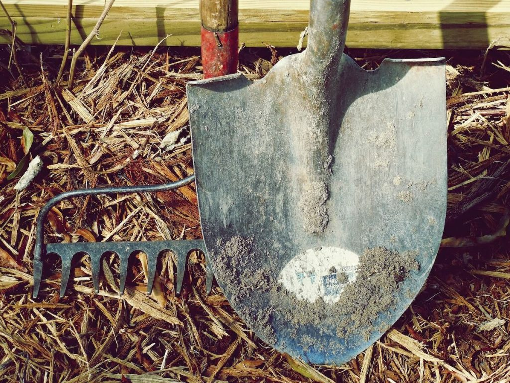 shovel on ground