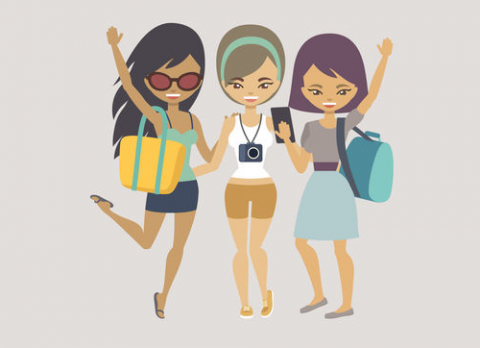 three girls traveling