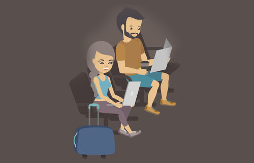two people in airport vector