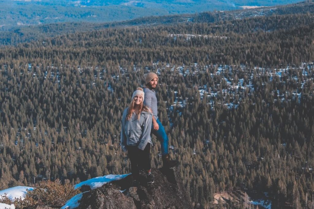 two people hiking in winter
