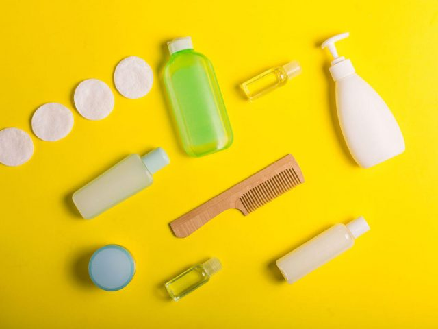 toiletry on yellow background