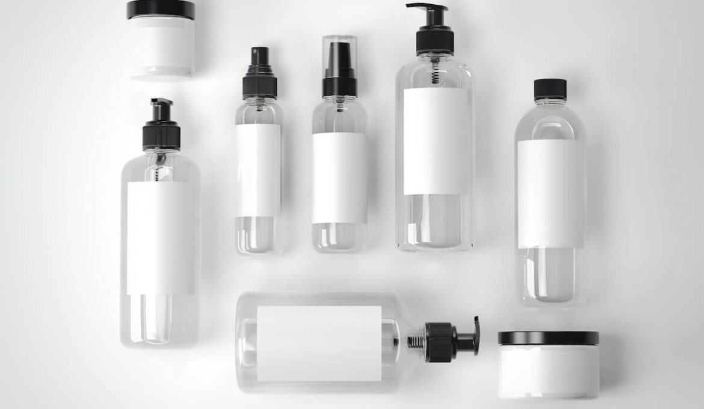 white toiletry bottles