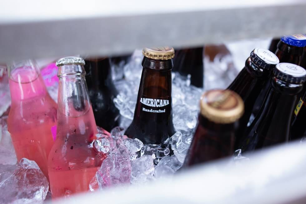 beer and ice in cooler