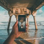 creative iphone photo with beach