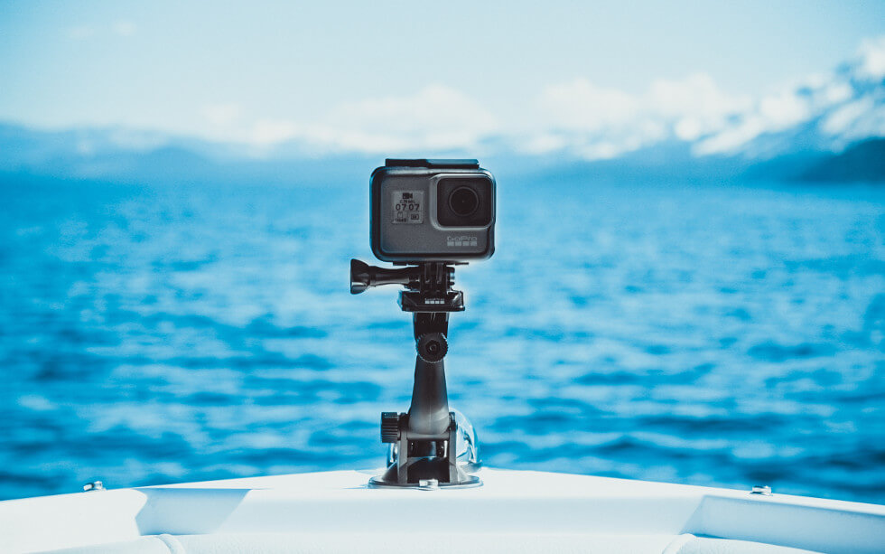 gopro camera on boat with tripod