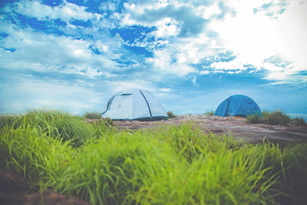 tent camping in summer